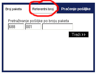 praćenje pošiljke po referentnom broju 1
